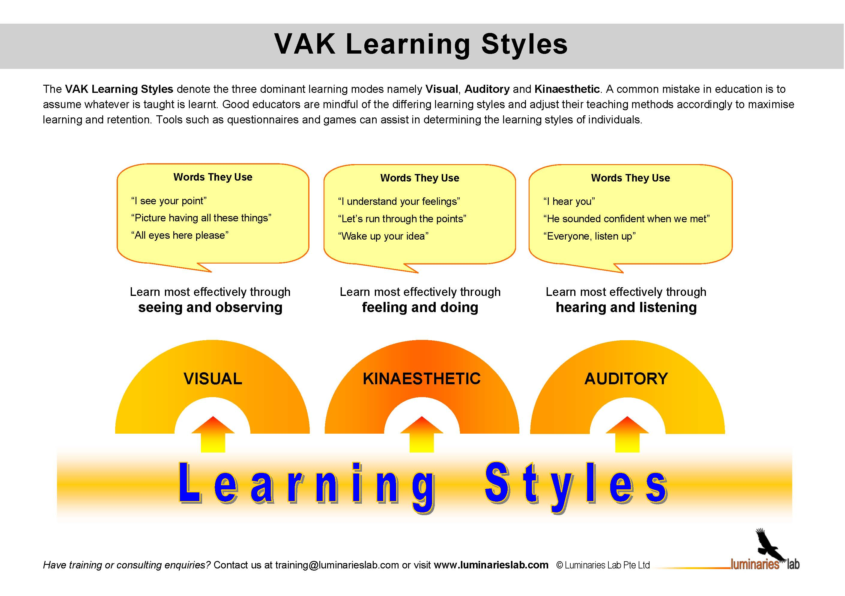 vak learning styles explanation The vak learning style uses the three main sensory receivers: visual, auditory, and kinesthetic (movement) to determine the dominant learning style.
